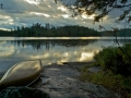 BWCAW rain on water by Larry Stone