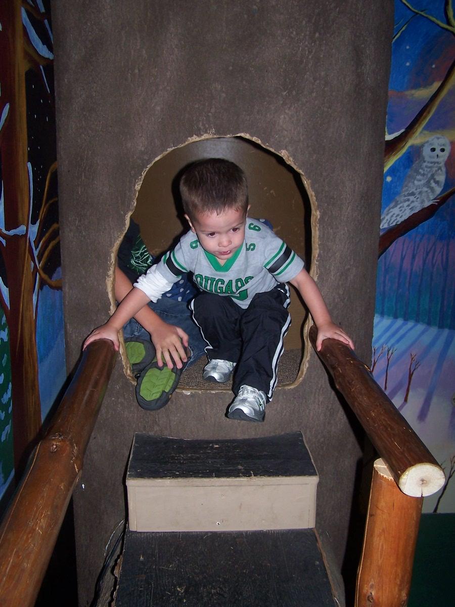 Boy crawling out of bear den